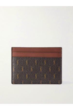 Saint Laurent Herren Geldbörsen & Etuis - Leather-Trimmed Monogrammed Canvas Cardholder