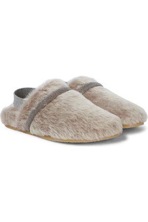 Brunello Cucinelli Kids Verzierte Slippers aus Shearling