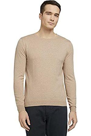 TOM TAILOR Herren 1024660 Basic Pullover, 24806-Sahara Dust Melangé