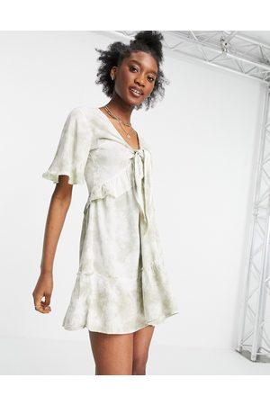 Influence Damen Strandkleider - – Strandkleid mit Batikmuster in Salbeigrün