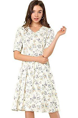 Allegra K Damen Freizeitkleider - Damen Peter Pan Kragen A-Linie Flowy Midi Chiffon Floral Kleid -ß - X-Groß
