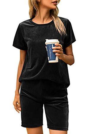 ECHOINE Damen Samt Outfits Set - 2 Stück Solide Velours Top Bluse T-Shirt Sets Jogger Hosen Trainingsanzug - - Klein