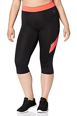 AURIQUE Amazon-Marke: Contrast Panels BAL004 sport leggings damen,Mehrfarbig (Black/Geranium)