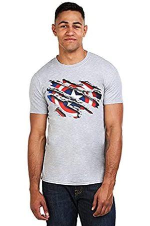 Marvel Herren Captain America Torn T-Shirt