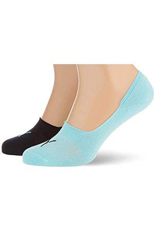 PUMA Unisex-Adult Footie (2 Pack) Socks, Blue/Black