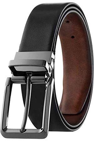 Prospero Comfort Herren-Gürtel aus italienischem genarbtem Leder, wendbar, mit drehbarer Schnalle