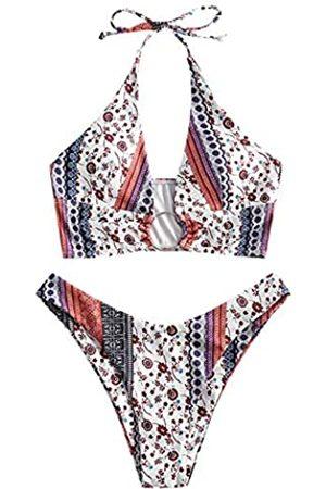 Zaful Damen Bikinis - Damen Neckholder Tie Badeanzug High Cut Bikini O-Ring Gerippte Cutout Tanga Bikini Bademode - - Medium