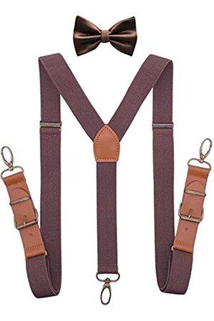 QCWQMYL Herren Hosenträger - Hosenträger Fliege Set für Herren Smoking Y-Rücken Hosenträger Leder Bronze Clips - - Einheitsgröße