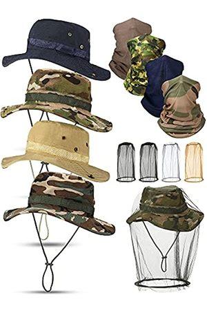 Geyoga Herren Hüte - 12 Stück Sommer Outdoor Boonie Hut mit Netz Set beinhaltet 4 Stück Sonne Sommer Kappen Camo Angeln Hüte 4 Stück Hals Gamaschen und 4 Stück Kopfnetz für Männer Sommer Outdoor Schutz