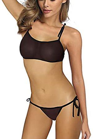SHERRYLO Durchsichtiger Bikini aus Netzstoff, Mini-Badeanzug, G-String, Tanga