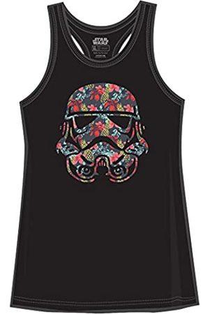STAR WARS Damen T-Shirts - Stormtrooper Storm Trooper Tropical Floral Flower Pattern Funny Humor Pun Juniors Tank Top Tanktop Slim Fit Adult Graphic Tee T-Shirt (Large) Black