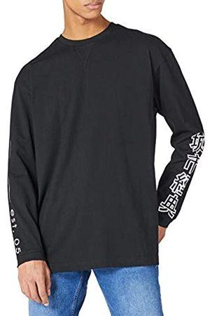 Urban classics Herren Chinese Symbol Oversized LS T-Shirt, Black