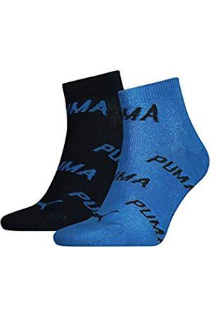 PUMA Unisex-Adult BWT Quarter (2 Pack) Socks, Navy/Grey/Strong Blue