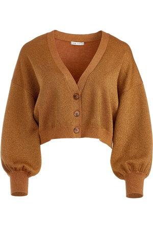 ALICE+OLIVIA Zelina mettallic-knit cropped cardigan