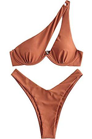 Zaful One Shoulder Bikini Kontrastfarbe Patchwork Cutout gerippt zweifarbig einteiliger Badeanzug - - Large