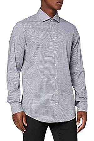 Seidensticker Herren Business Hemd – Kariertes Hemd mit hohem Tragekomfort und Kent-Kragen – Passform Slim Fit – Extra langer Arm – 100% Baumwolle, (Dunkelbla