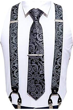 Barry.Wang Herren Hosenträger-Set mit Krawatte, elastisch, Y-Typ, robust, 6 Clips, Hosenträger