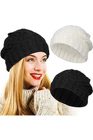 Syhood 2 Stücke Winter Mütze Frauen Strick Beanie Hut Dick Warm Stricken Schädelkappe Ski Hut Outdoor Sport für Frauen Valentinstag