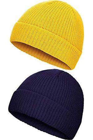 SATINIOR 2 Stücke Winter Warme Mütze Hut Strick Manschette Kappe für Männer Tägliches Tragen (Marineblau und )