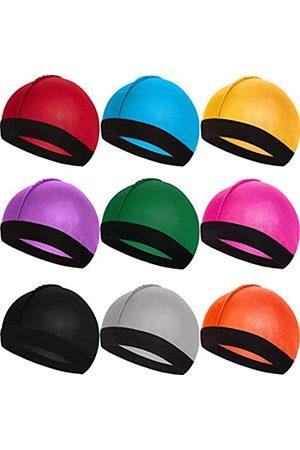 SATINIOR Men's 9 Pieces Silky Wave Caps Elastic Band Wave Caps Silky Wave Hats