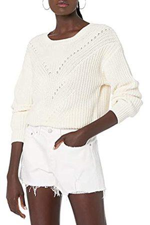THE DROP Selena Cropped-Pullover mit Zopfmuster vorne, für Damen, (Whisper White)