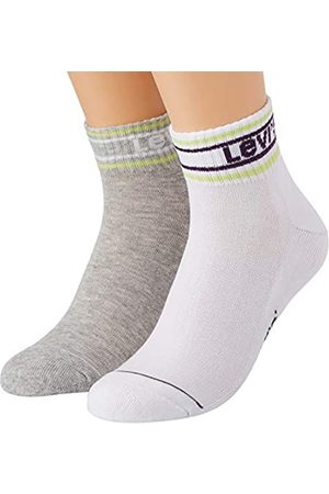 Levi's Unisex-Adult Pique Logo Mid Cut (2 Pack) Socks, Purple/Green