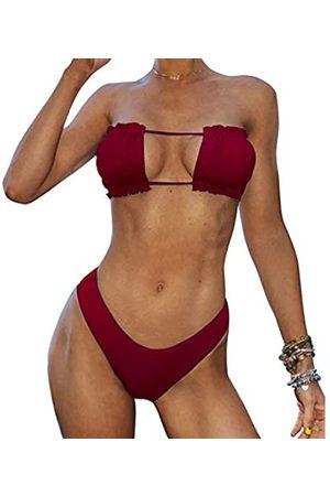 Zaful Bandeau-Bikini, gerüscht, seitlich gebunden, niedriger Bund