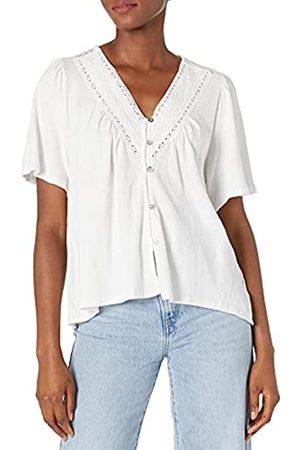 Lucky Brand Damen Flutter Sleeve Up Embroidered Boho Blouse Hemd mit Button-Down-Kragen
