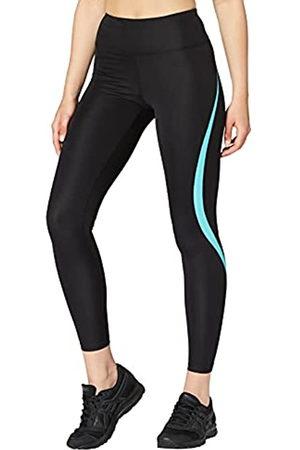 AURIQUE Amazon-Marke: Damen Sportleggings mit hohem Bund, (Black/Turquoise), 36