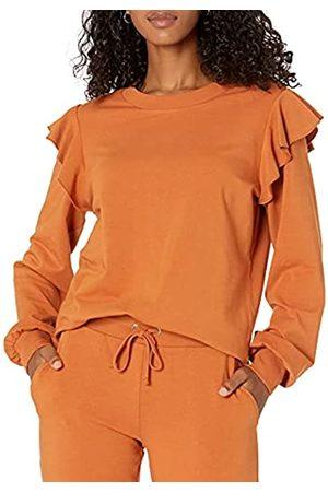 THE DROP Damen Sweatshirts - Ruby Sweatshirt aus superweichem Stretch, mit Schulterrüschen, für Damen, Braun (Adobe)