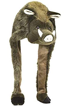 Close Up Wildsau Mütze/Wildschwein Tierplüschmütze aus Veloursplüsch für Erwachsene