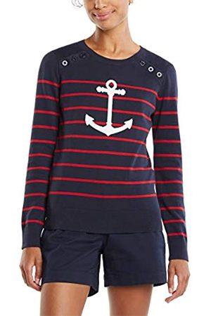 Nautica Damen Strickpullover - Damen Voyage Long Sleeve 100% Cotton Striped Crewneck Sweater Pullover