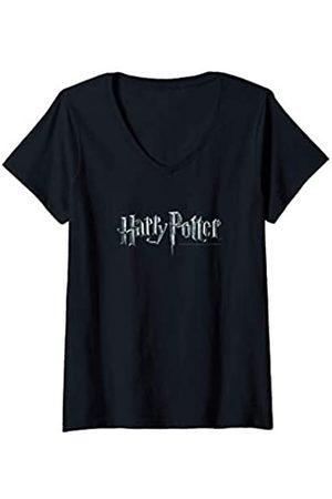 Harry Potter Damen Shirts - Damen Logo T-Shirt mit V-Ausschnitt