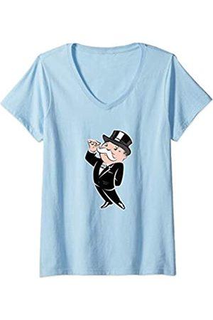 Hasbro Damen Monopoly Rich Uncle Pennybags Portrait T-Shirt mit V-Ausschnitt