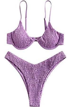 Zaful Women's Swimsuit Push Up Plunge Underwire Bathing Suit High Cut Bikini Set