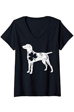 St. Patrick's Day Lucky Co Damen Weimaraner St Patricks Day Men Women Shamrock Dog Lover Gift T-Shirt mit V-Ausschnitt