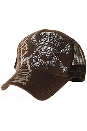 WITHMOONS Baseballmütze Mützen Caps Kappe Meshed Baseball Cap Skull Rhinestones Trucker Hat KR1751 (Brown)