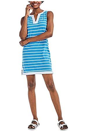 Nautica Damen Ärmellose Kleider - Damen Breton Stripes Sleeveless V-Neck Stretch Cotton Polo Dress Freizeitkleidung