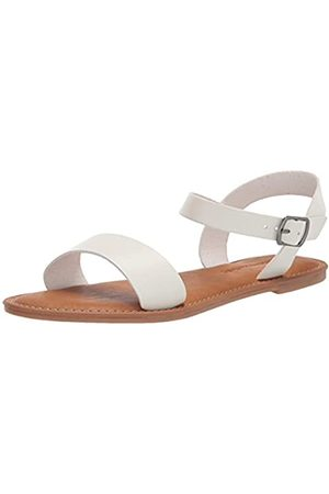 Amazon Two Strap Buckle flats-sandals, - White Pu