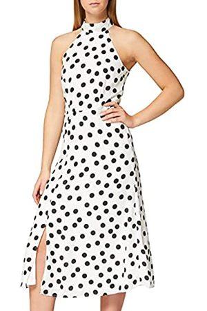 TRUTH & FABLE Amazon-Marke: Damen Midi-Kleid mit Neckholder aus Chiffon, Mehrfarbig, 36