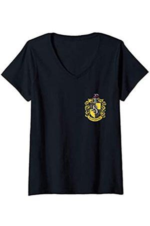 Harry Potter Damen Shirts - Damen Hufflepuff Pocket Print T-Shirt mit V-Ausschnitt