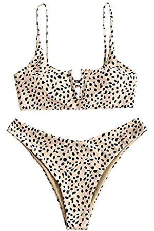 Zaful Damen-Bikini, Leopardenmuster, mit Bügel