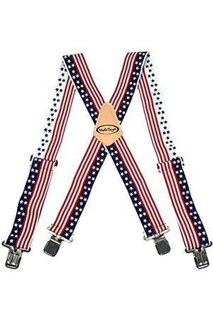 Melo Work Gear Herren Hosenträger - Hosenträger mit amerikanischer Flagge, X-Rücken, 5,1 cm breit