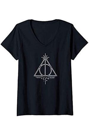 Harry Potter Damen Deathly Hallows Line Art T-Shirt mit V-Ausschnitt