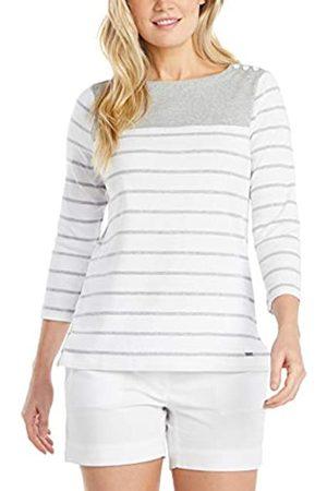 Nautica Damen Breton Striped 3/4 Sleeve Pure 100% Cotton Shirt Hemd