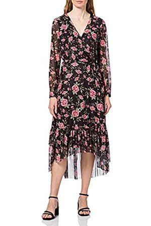 VILA Damen VIKAMAS L/S MESH Dress Kleid, Black