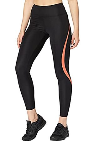 AURIQUE Amazon-Marke: Damen Sportleggings mit hohem Bund, (Black/Geranium)
