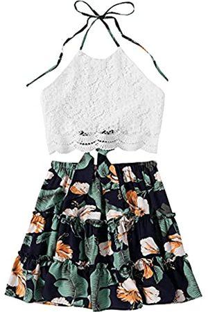 LYANER Damen Haltertops - Damen 2 Stück Outfits Sommer Spitze Neckholder Cami Crop Top mit Blumen Mini Rock Set - - Mittel
