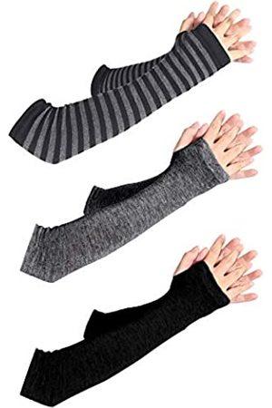 MIGOU Unisex lange fingerlose Handschuhe für Frauen, Armstulpen, gestrickt, Daumenloch