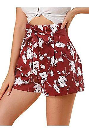 Allegra K Damen Shorts - Damen-Shorts mit Fliege, hohe Taille, kurze Papiertasche, Größe XS